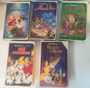 Disney-VHS-Black-Diamond-Lot-Little-Mermaid-Beauty-amp-Beast-Aladdin-101-Dalmatian