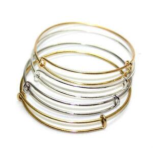 Wholesale-Expandable-Wire-Bangle-Bracelet-Adjustable-Gold-Silver-Tone-Charms-DIY