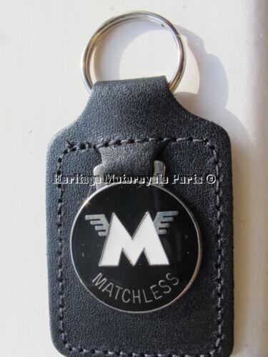 new MATCHLESS KEYRING real black leather white enamel English KEY FOB  key ring