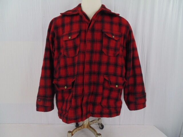 VINTAGE WOOLRICH HUNTING COAT LATE 1950'S ROT PLAID   523 SIZE 46  Herren LARGE