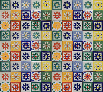 FLOWER DESIGNS Mexican Tile Handmade Talavera Backsplash Handpainted Mosaic