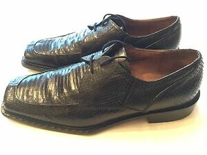 Giorgio-Brutini-Snakeskin-Oxfords-Mens-9-M-Black-Leather-Dress-Shoes-Lace-Up