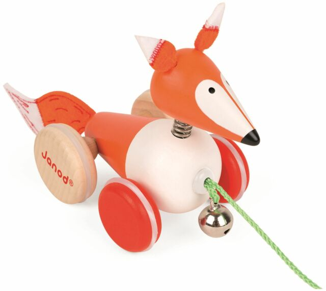 Janod ZIGOLOS PULL ALONG FOX Wooden Toy BNIP