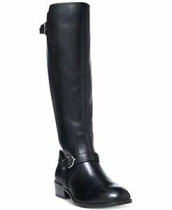 Lauren Ralph Lauren Margarite Riding Boots Black 5.5M Buckle Zip Up Leather