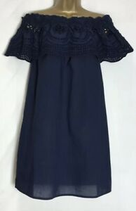 Dorothy-Perkins-Navy-Cotton-Broderie-Detail-Bardot-Dress-Size-6-16-dp-29o