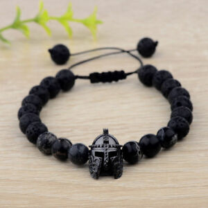 Charm-Popular-Black-Spartan-Helmet-Natural-Stone-Adjustable-Macrame-Bracelet-XJ