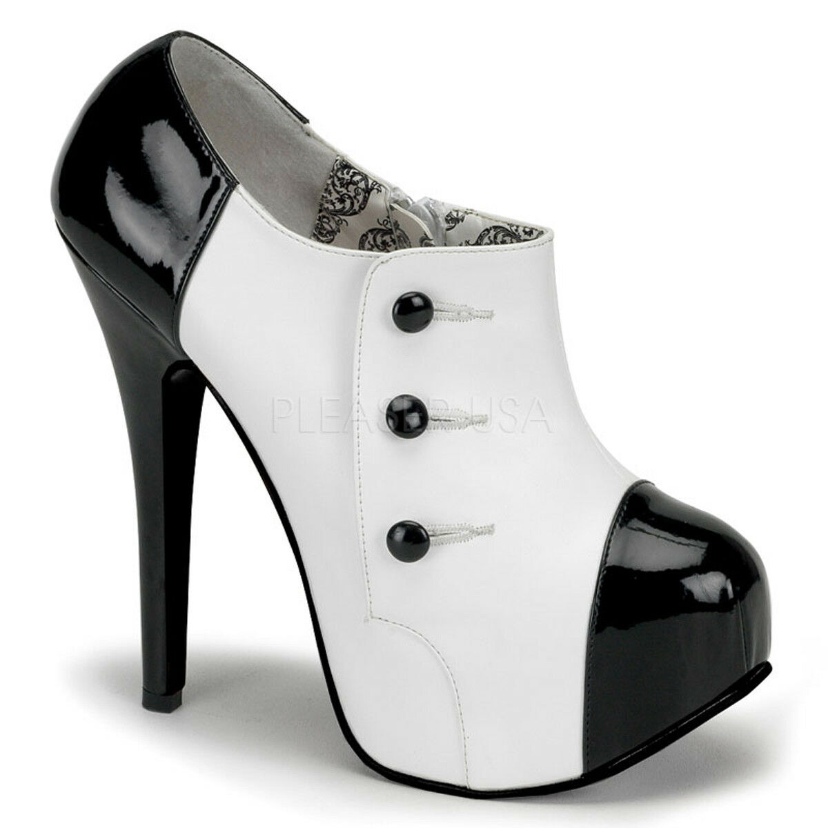 Bordello TEEZE-20 Shoes White Pu-Black Patent Platforms Buttons Spats Ankle Boot