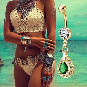 Details About Belly Bars New Belly Bar Crystal Dangly Reverse Button Rings Top Drop Navel