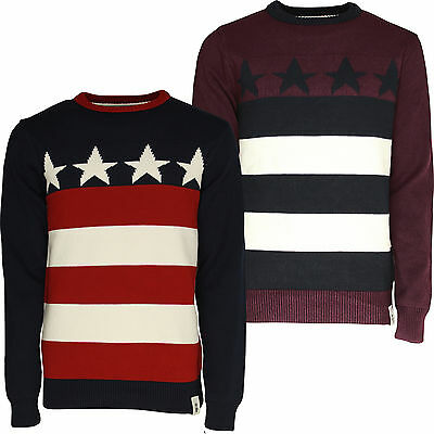 Mens Jumper Knitted Sweater Soulstar Stars And Stripes USA Design Pullover Top