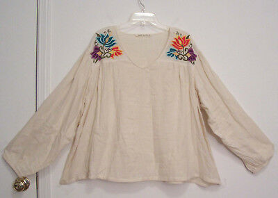 EMBROIDERED 100% COTTON GAUZE Long Puff Sleeves FESTIVAL Plus Sz Peasant Top 2X