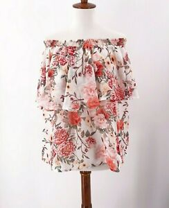 Show-Me-Your-Mumu-Size-XL-Womens-Floral-Blouse-Off-Shoulder-Roses-Pink-White