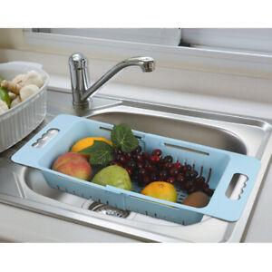 3PCS-Sink-Drain-Basket-Strainer-Dish-Drying-Rack-Kitchen-Shelf-Fruit-Adjustable
