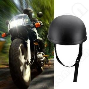 L Matte Black Low Profile Motorcycle Half Helmet Cap Biker Novelty New