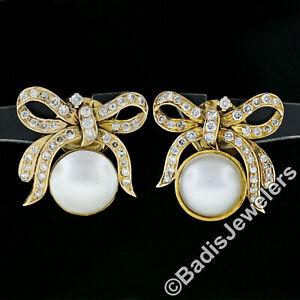Vintage-14K-Yellow-Gold-Mabe-Pearl-amp-1-28ctw-Diamond-Large-Ribbon-Screw-Earrings
