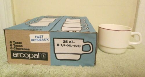 New 6 Pc ARCOPAL France Stackable Milk Glass Cafe Cups Restaurant Ware W// Stripe