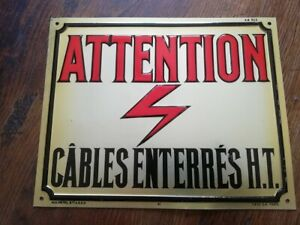 Rare-plaque-tole-relief-20X25-ATTENTION-CABLES-ENTERRES-H-T