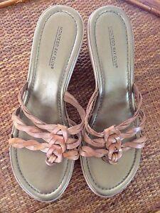 3cf309a40 Montego Bay Club Leather Sandals Slides Size 11 Medium Brazil Wedge ...