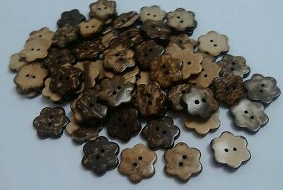 Lot 100x 12mm DIY doll Scrapbooking Sewing craft Nature coconut flowers buttons