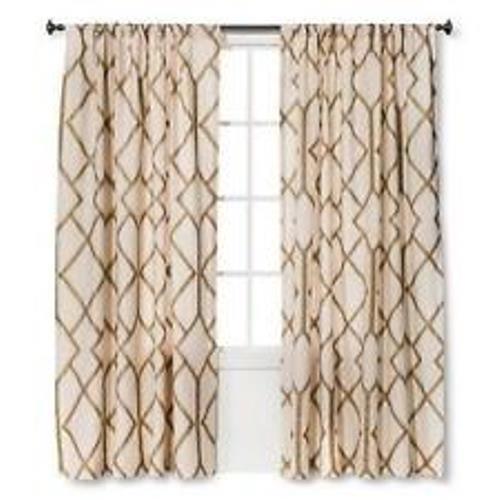 Umbral de dos paneles de ventana de Lino enrejado de oro metálico Cortinas 54 x84  Nuevo
