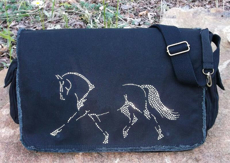 Dressage Rhinestudded Equestrian 16   Canvas  Messenger Bag New  factory outlet