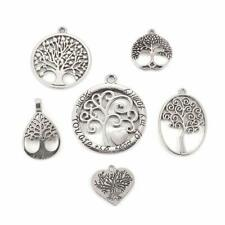 SC7968 10 Tree of Life Connector Charms Antique Silver Tone 2 Sided