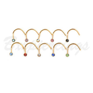 10pc-20G-Screws-Nose-Ring-Twist-Gold-Plated-Nostril-Piercings-Stud-Micro-Gem