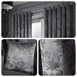 Curtina-Damask-Eyelet-Curtains-Ring-Floral-Grey-Window-Ready-Made-Drapes-Cushion