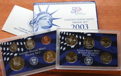 with original box /& COA with quarters as well Mint Proof 10 Coin Set 2003 U.S