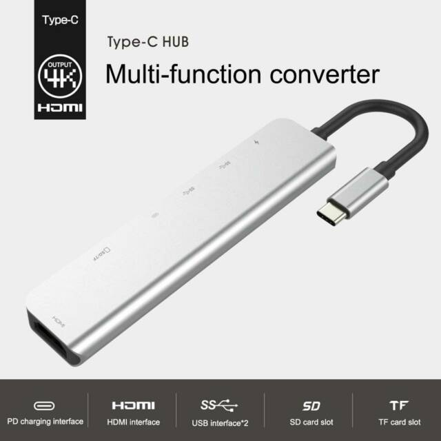 7in1 USB-C Hub Dual Adapter Type-C Multiport Card Reader 4K HDMI For MacBook Pro