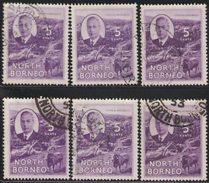 NORTH-BORNEO-1950-KG-VI-5c-VIOLET-CATTLE-USED-X6