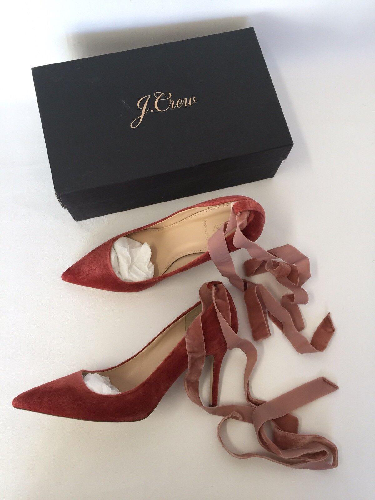 Jcrew  Elsie Terciopelo Tobillo Wrap bombas G8166 10.5 vendido oxidado Rojo Tacones Zapatos vendido 10.5 ee13db