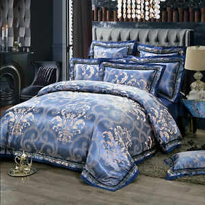 Image Is Loading Luxury 6pc Blue Jacquard Satin Cotton Queen Size
