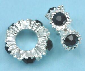 10-X-Chapado-En-Plata-Cristales-Pedreria-Rondelle-Separadores-Dije-Pulsera