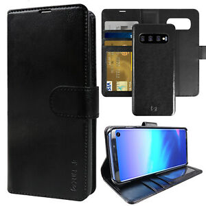 Galaxy S10+ Plus S10e Case ZUSLAB Genuine Leather Wallet Cover for Samsung