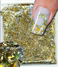 FLITTER FOIL FLAKES gold Nail-Art Glitter für Fingernägel/Fußnägel Nailart