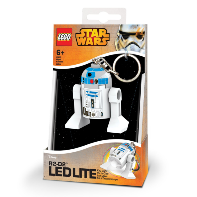 LEGO Star Wars R2-D2 Minifigure Keyring Keychain LED Light Torch New