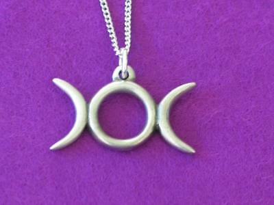 HORNED GODDESS PENDANT NECKLACE PAGAN WICCA TRIPLE GODDESS ENGLISH PEWTER