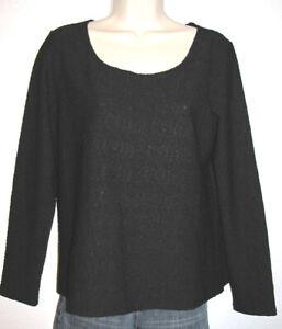 J-Jill-Women-039-s-Black-Long-Sleeve-Stretch-Scoop-Neck-Textured-Top-Size-Medium