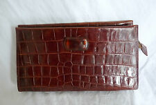 "SAC A MAIN EN CUIR POCHETTE ""ANTONIO SCEPI"" CROCO  LEATHER HAND BAG VINTAGE"