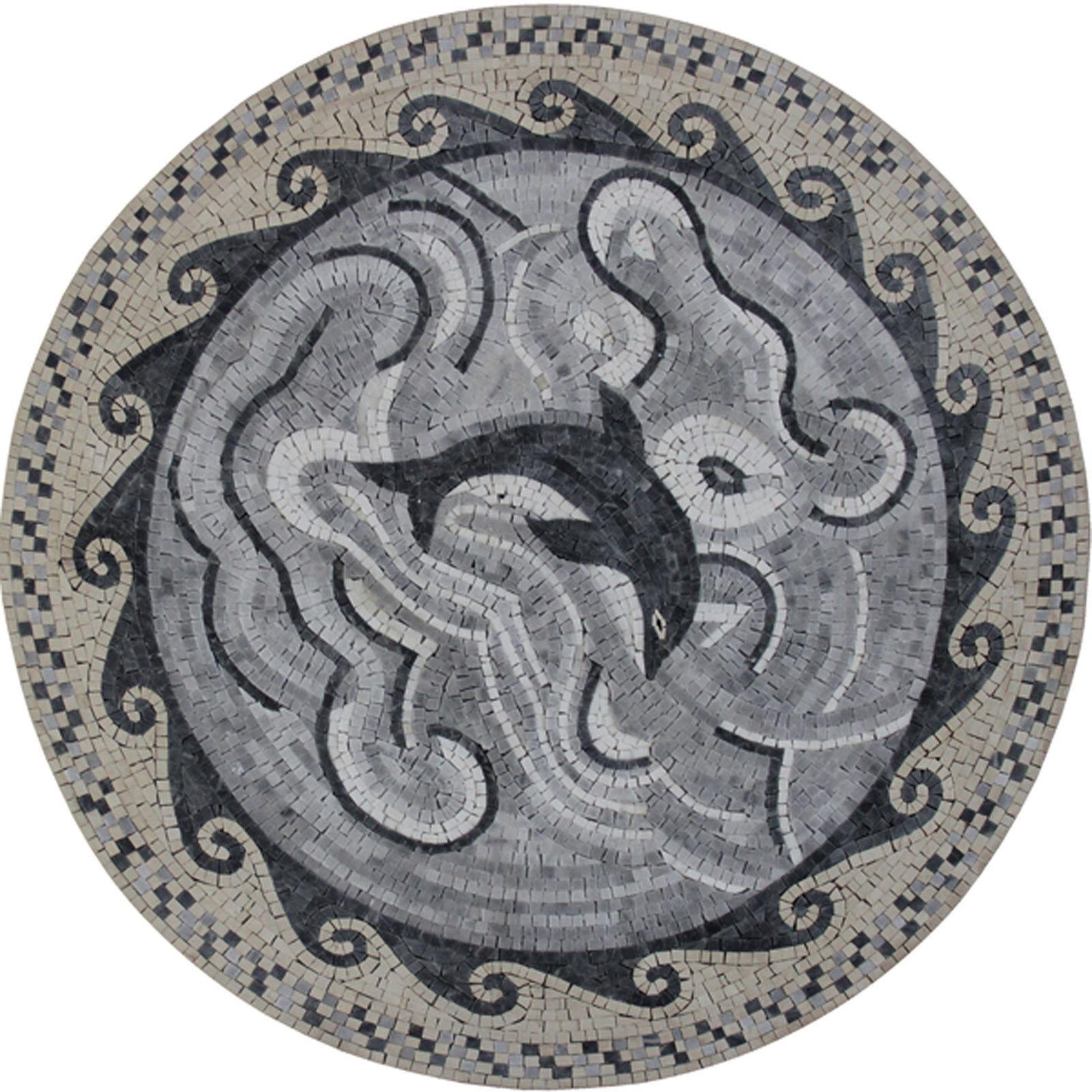 Dancing Dolphin grau Wavy Frame Circuitous Deisgn Marble Mosaic AN1161