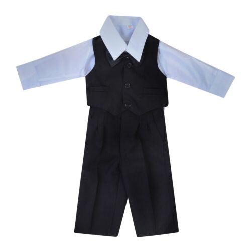 BABY BOYS 5 PIECE SUIT BLACK JACKET TROUSERS WAISTCOAT SHIRT TIE 0-18m BNWT
