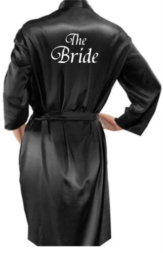 Mans Black Satin Robe Personalised Ladies Dressing Gown Wedding Bride Groom