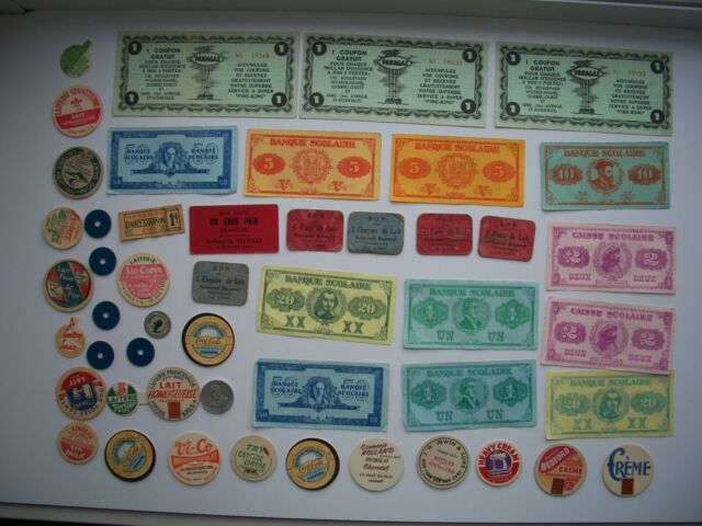 Lot of 48 Antique Milk,Bread, Ration Token & School Money Quebec Canada