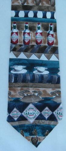 Tabasco Neck Tie Necktie Silk Bottles Tan Red Blue