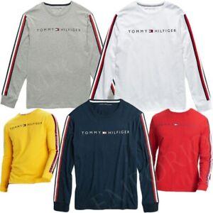 Tommy-Hilfiger-Para-Hombre-de-manga-larga-logotipo-Camiseta-Camisa-Camiseta