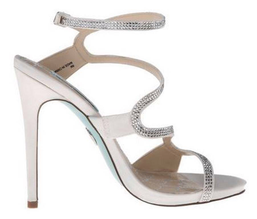 Women's bluee by Betsey Johnson GIFT Special Occasion Strappy Sandals Satin Ivory