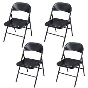 Set of 4 Folding Chairs Steel Home fice Garden Furniture