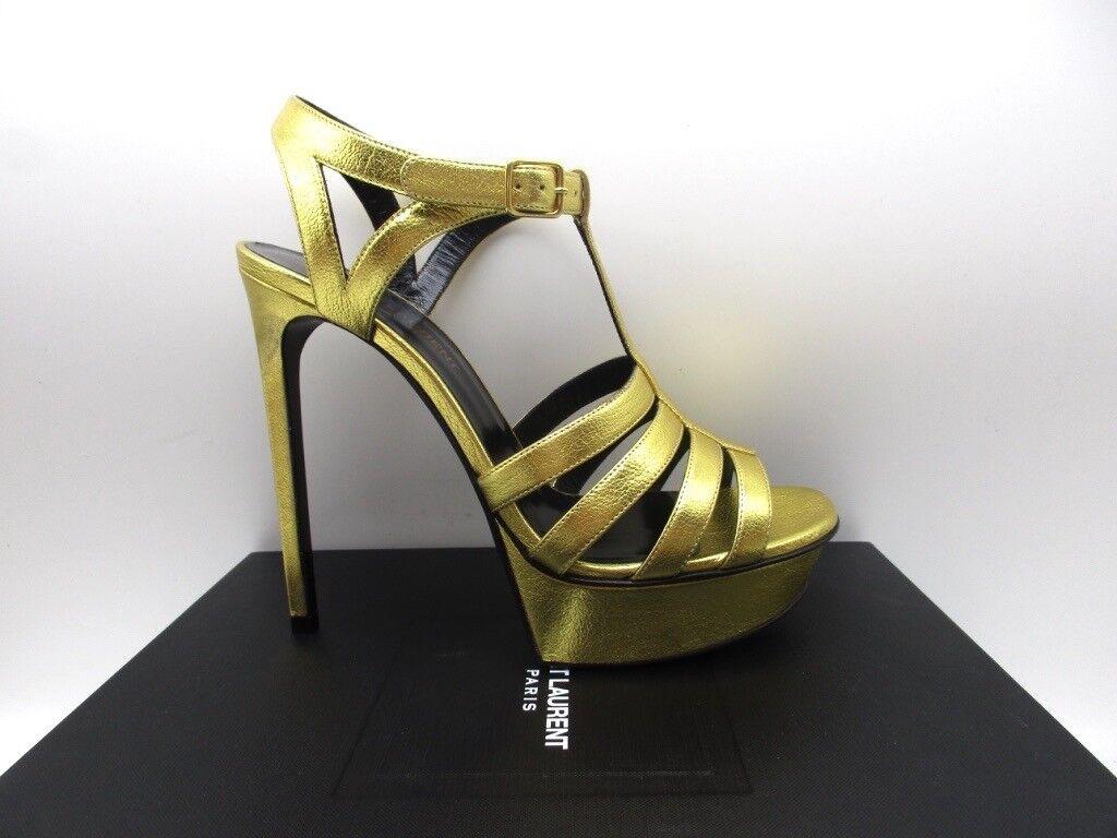 Yves Saint Laurent Bianca 105 Oro Gold T Strap Platform Sandals 37.5 7.5