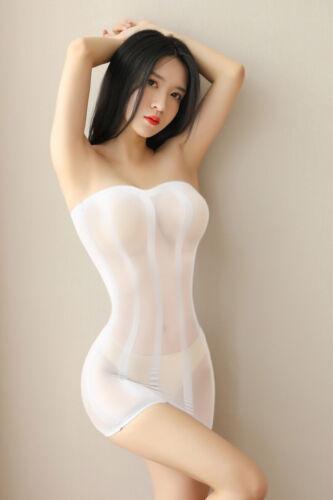 Women Strapless See Through Tube Dress Bodycon Mesh Bodystocking Clubwear Party