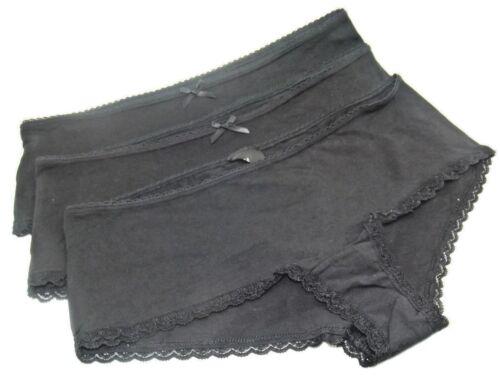 3 or 5 prs NEW EX H /& M LADIES GIRLS BLACK COTTON BOYSHORTS PANTS KNICKERS 6-16